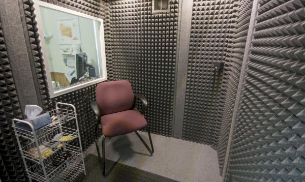 Hearing test booth at Rainbow River Hearing