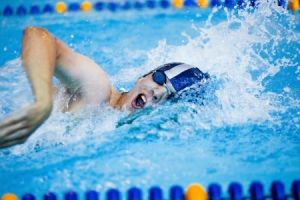 male competitive swimmer in a race