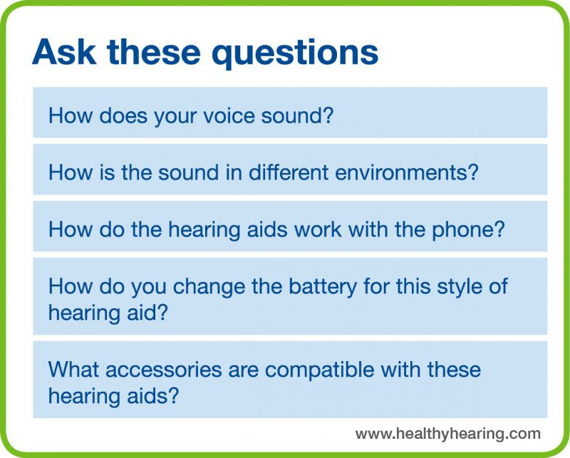 This is a list of questions that you can ask when you compare two hearing aids, as described in the text.