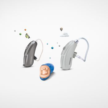 Pictures of different hearing aid model types