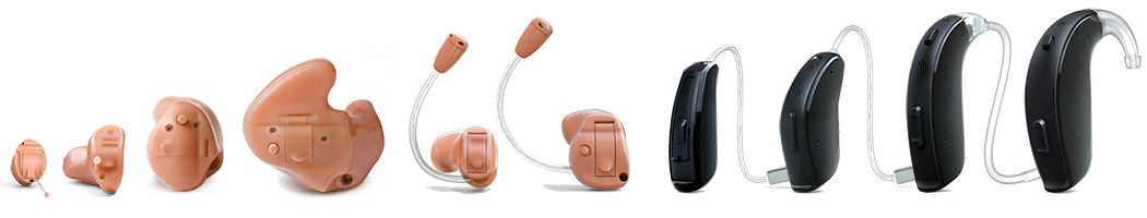 A line up of hearing aid styles