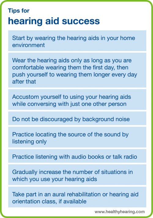 This is a summary of the tips for adjusting to hearing aids that are given in the text.