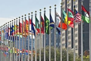 United Nations headquarters with country flags