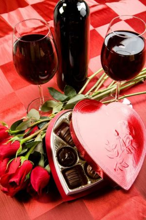 Red wine and Valentine's Day boxed chocolates