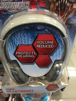 "Kid-friendly headphones advertising ""volume reduced"""