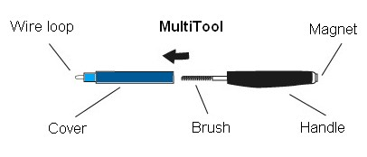 The hearing aid multi-tool has a wire loop, magnet and brush all in one. This is an important tool for hearing aid cleaning.