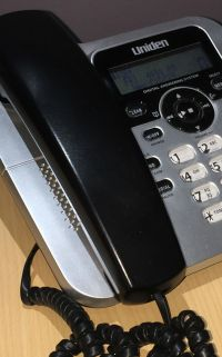 Close-up on desktop phone