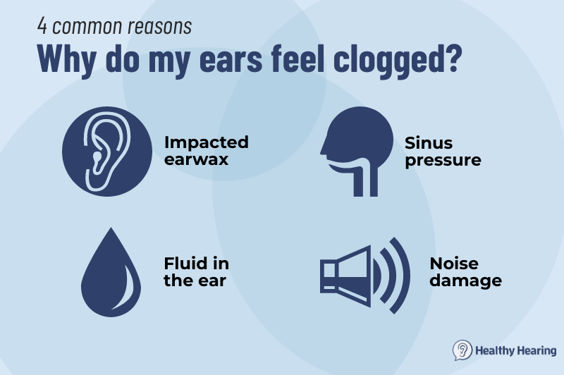 Infographic giving four reasons ears may be clogged.