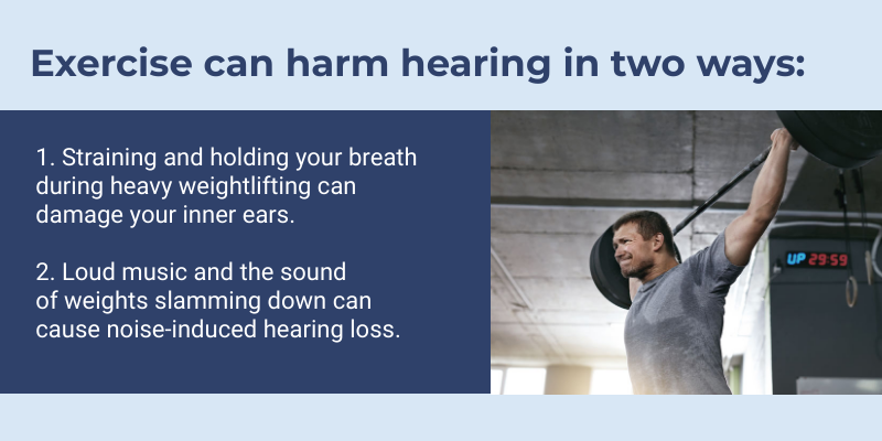 Illustration explaining how exercise can damage hearing.