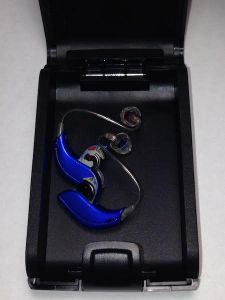 digital hearing aids in carrying case