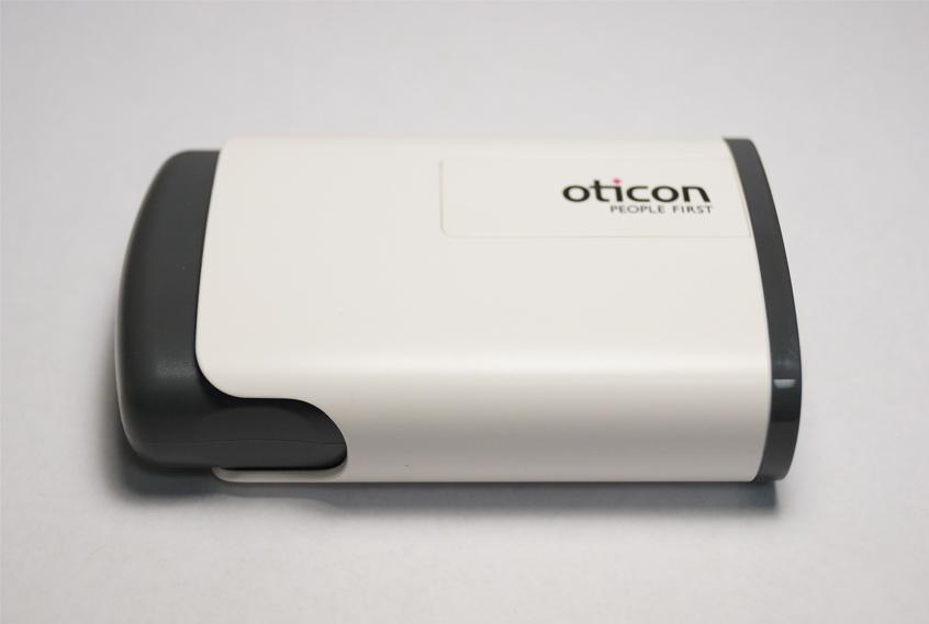 A hearing aid case from Oticon