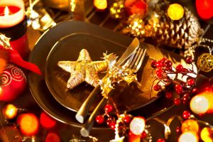 close-up on holiday table setting
