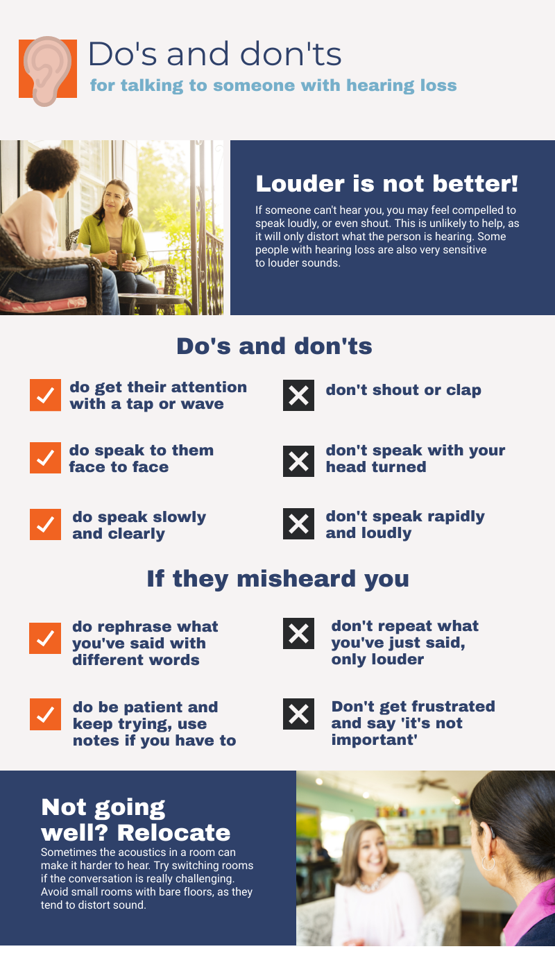 Infographic with tips on talking to someone with hearing loss
