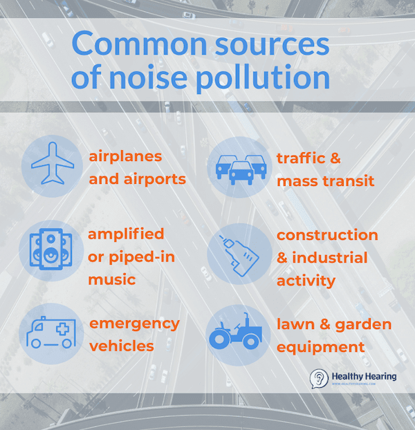 Illustration explaining common sources of noise pollution