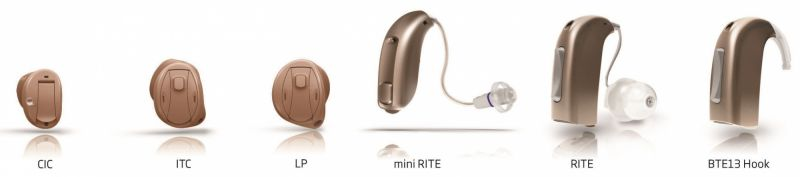 Hearing aid sizes, from smallest to largest.