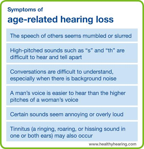 symptoms of age-related hearing loss