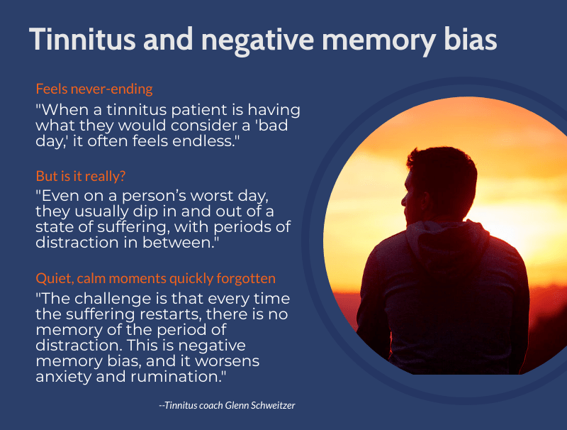 Description of what tinnitus negative memory bias and rumination is. Text-based.