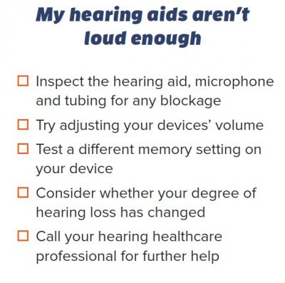 One portion of the 4-part troubleshooting guide for hearing aids from Healthy Hearing