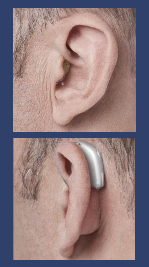 Images of in the ear and behind the ear hearing aids.